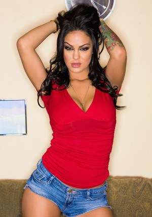 Voluptuous latina Angelina Valentine stripping big juggs and ass