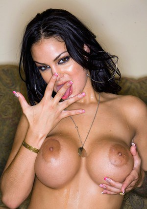 Sultry latina babe Angelina Valentine drilled hardcore on the couch