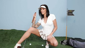 Sexy latina babe Juelz Ventura playing golf and stripping nude