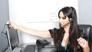 Hot latin MILF Isis Love getting nude and masturbating in the office