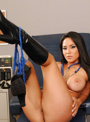 Busty doctor in leather boots Jenaveve Jolie showing off her big tits