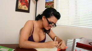 Latina Eva Angelina takes off her clothes in the office to feel pussy