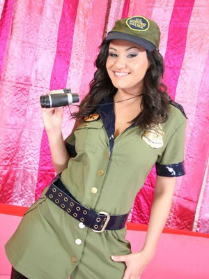 Big titted Latina Charley Chase stripping off her sexy uniform