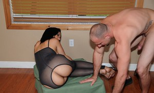 Gorgeous latina MILF in pantyhose gets her shaved pussy drilled hardcore