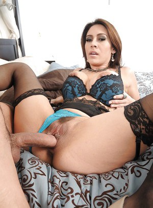 Seductive latina MILF in nylon stockings gets banged hardcore