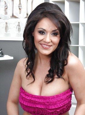 Sexy latina babe with big tits Charley Chase stripping off her clothes
