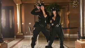 Hot gals Jayden Jaymes  Jenna Presley stripping off their police uniform