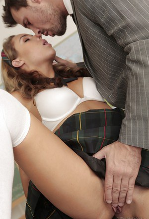 Latina schoolgirl Ella Milano gets fucked and facialized in the classroom
