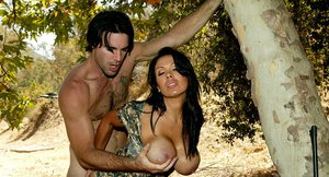 Saucy latina bombshell Sienna West enjoys a hardcore twatting outdoor