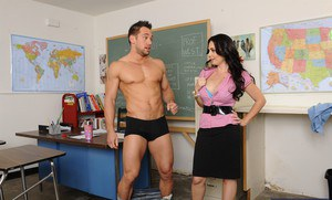 Busty teacher Holly West has some ass licking and pussy fucking fun