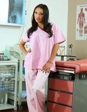 Lustful nurse uncovering her seductive curves at her workplace