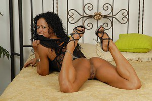 Petite curly-haired latina Hellen Ferraz slipping off her lingerie