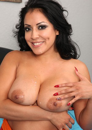 Gorgeous latina MILF with big tits gets fucked for cum on her tongue