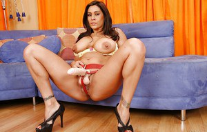 Brunette babe Raylene is a pornstar that wears a huge strapon