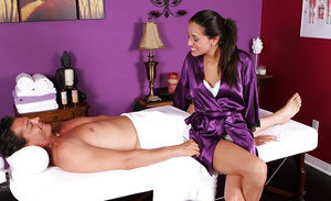 Fancy masseuse Lyla Storm prefers fucking with her clients