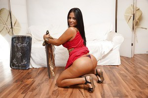 Shaved pussy and big natural tits of a Latina brunette Galilea are shown