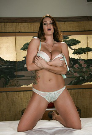 Brunette babe Alison Tyler pleases herself with a relaxing massage of pussy