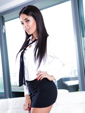 Upskirt undressing scene features brunette Latina babe Anissa Kate