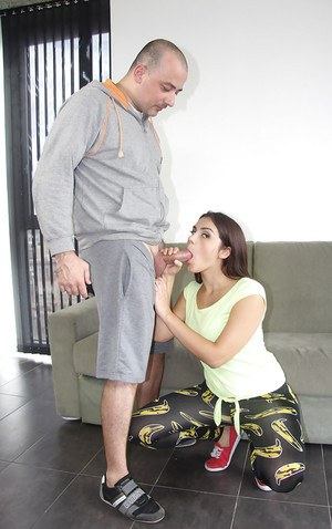 Valentina Nappi is staying on her knees with cock in the mouth