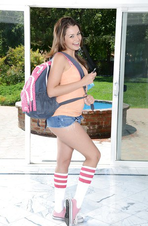 Latina babe Allie Haze posing cute young girls body outdoors by pool