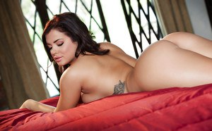 Hot Latina Keisha Grey posing her lovely ass in high heels and paties