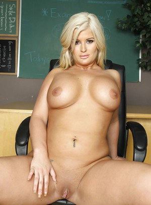 Beautiful blonde chick Julie Cash playing with her big natural boobs