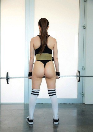 Latina babe Alexis Rodriguez working out in spandex and long socks