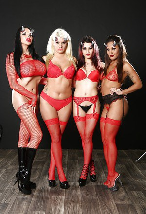 Four hot demon and devil ladies put in one group photo shoot