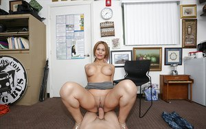 Busty big ass Latina Samantha Bell getting her pussy drilled in heels