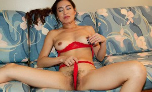 Skinny Latina first timer Leilani undresses to masturbate hairy beaver