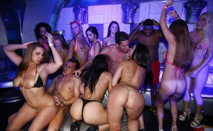 All kinds of wild and crazy pornstars fuck and suck one man