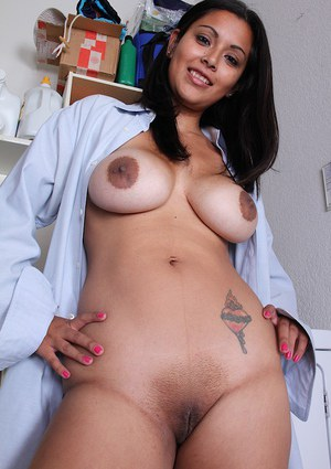 Latina MILF Veronica letting her big natural boobs loose from mans shirt