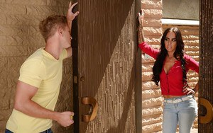 Latina MILF Brandy Aniston delivering a CFNM messy blowjob in blue jeans