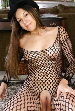 Amateur Latina chick Misty striking sexy solo poses in mesh bodystocking