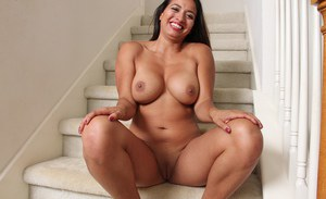 Latina mom Abby Melon unveils big boobs and panty adorned ass in high heels