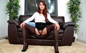 Stocking attired redheaded Latina babe Zoey Velez showing off nice ass