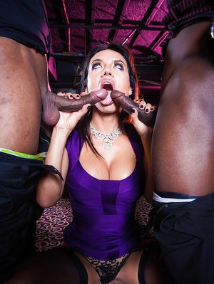 Big boobed Latina giving huge black cocks blowjobs in interracial threesome