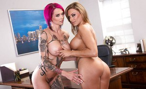 Latina dyke Juelz Ventura and tattooed Anna Bell Peaks humping in office