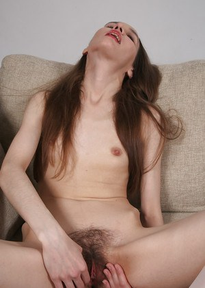 Thing mature Latina woman Rose revealing hairy cunt in white stockings
