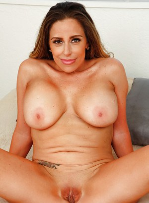 Older Latina Sienna Lopez unveiling hooters and pink twat on bed