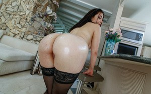 Babe in black stockings Demi Lowe intense moments of sex on the couch