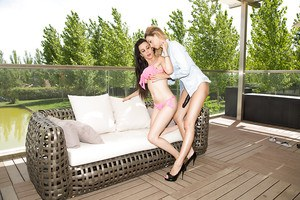 Erica Fontes and Sara Ray raw outdoor lesbian moments of strapon XXX