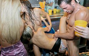 An after work party for pilots and stewardesses concludes with wild group sex